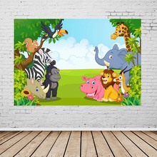 Vinyl Photography Background Cartoon Animals Giraffe Zebra Children Fotografia  Backgrounds for Photo Studio G-141