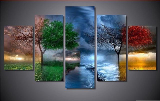 5d Diy Diamond Painting Four Seasons Trees Cross Stitch