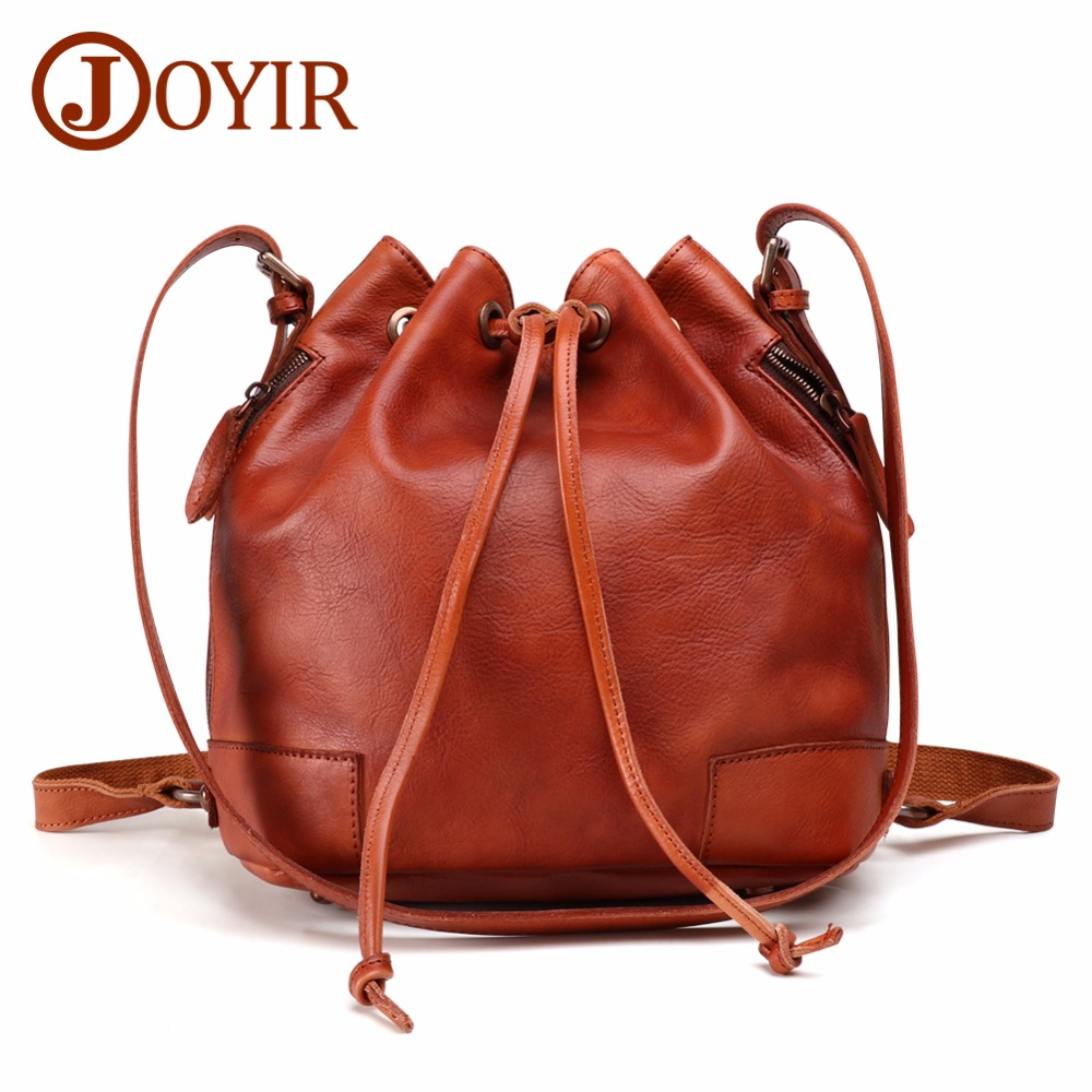 цена JOYIR Women Genuine Leather Bucket Bag Handbag Vintage Fashion Tassel Drawstring Shoulder Bag Messenger Crossbody Bags Daypack