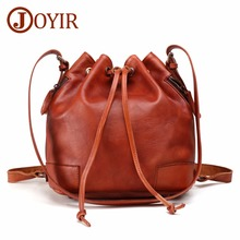 JOYIR Women Genuine Leather Bucket Bag Handbag Vintage Fashion Tassel Drawstring Shoulder Messenger Crossbody Bags Daypack