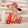 2016 Luxury Crystal Poodle Dog Key Chain Key Ring Animal Dog on a Motorcycle Keychains for Women