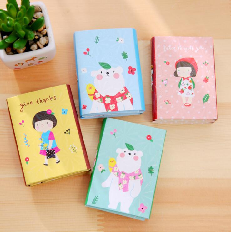 Cute Cartoon Little Girl & Bear 6 Folding Memo Pad N Times Sticky Notes Memo Notepad Bookmark Gift Stationery