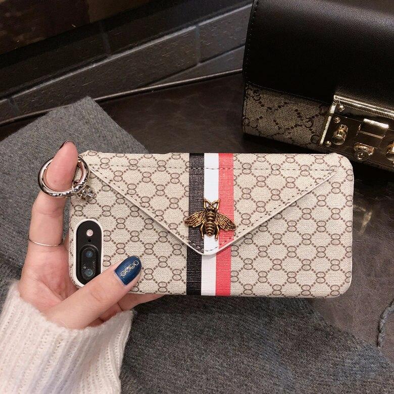 Luxus Klassische 3D Metall Biene Telefon Fall für iPhone X 6 6 s 7 8 Plus XS Max Xr Mode halter Karte Tasche Brieftasche Telefon Zurück Abdeckung