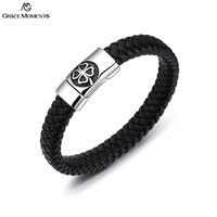 Grace Moments Handmade Jewelry Genuine Braided Leather Bracelet Mens Stainless Steel Bangle Lucky Clover Bracelets Best Gifts
