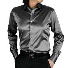 Стильные шелка блестящие camisa masculina модные случайные футболки рубашки длинным тонкий