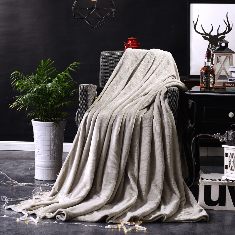 Flannel Blanket Coral Fleece Bedspread Solid Color Silver Gray Adult Twin Full Queen King Plaid Blankets Travel In From Home Garden
