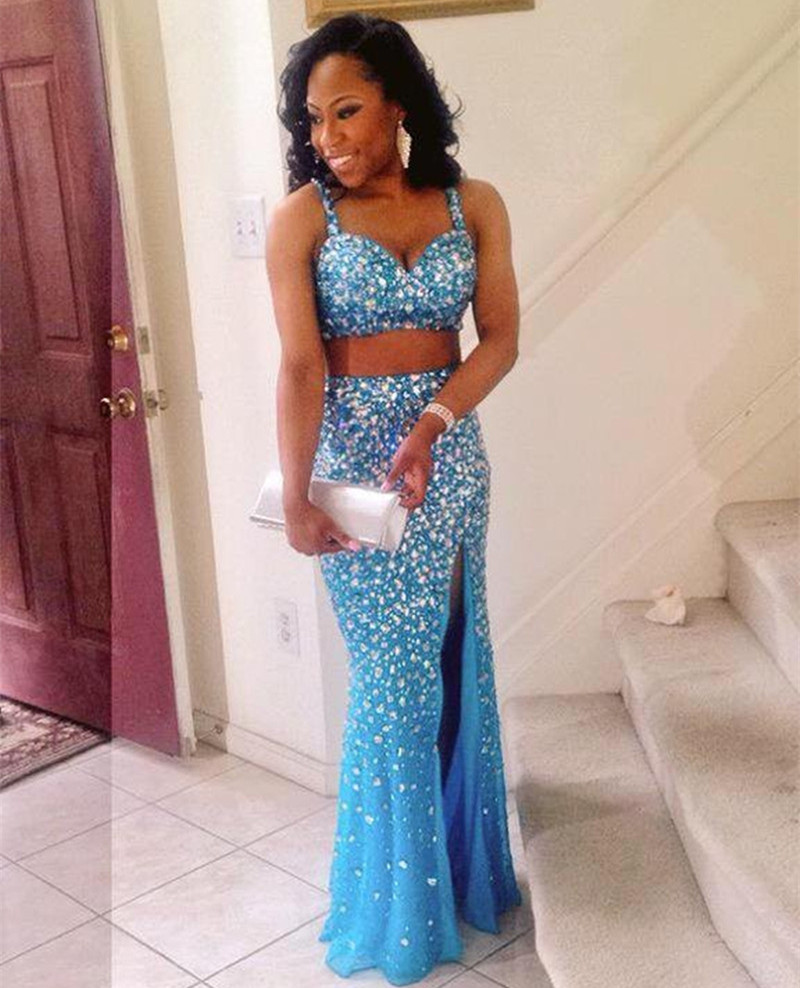 Popular 2 Piece Turquoise Prom Dress-Buy Cheap 2 Piece Turquoise ...