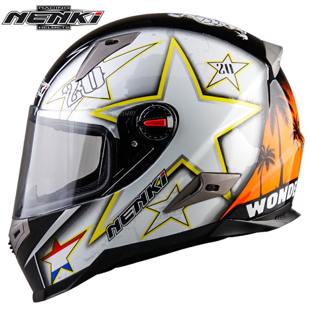 Full Face Motorcycle Helmet Racing Capacetes de Motociclista Moto Helmets for Motorcycle Racing Helmets NENKI 863-2 Men's nenki motorcycle helmets motocross racing helmet motorbike full face helmet capacete de moto for men and women 13 color