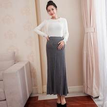 5d69029d820cb Elastic Waist Belly Maternity Long Skirts Bottoms Clothes for Pregnant  Women Autumn Charming Knitted Pregnancy Skirts DF695