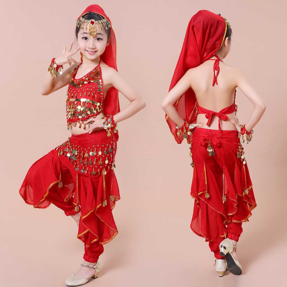 Otroški ples kostum Otroška obleka za indijski ples 5 kosov - Odrska in plesna oblačila