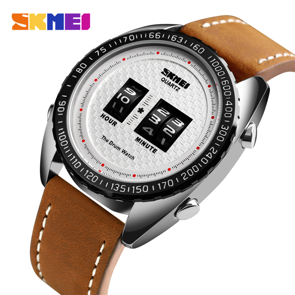 2019 New <font><b>SKMEI</b></font> Brand Luxury Quartz Watches Creative Fashion Drum Men Watch Waterproof Quartz Wristwatches Relogio Masculino <font><b>1516</b></font> image