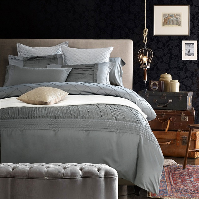 Silk Sheets Luxury Designer Bedding Set Silver Grey Quilt