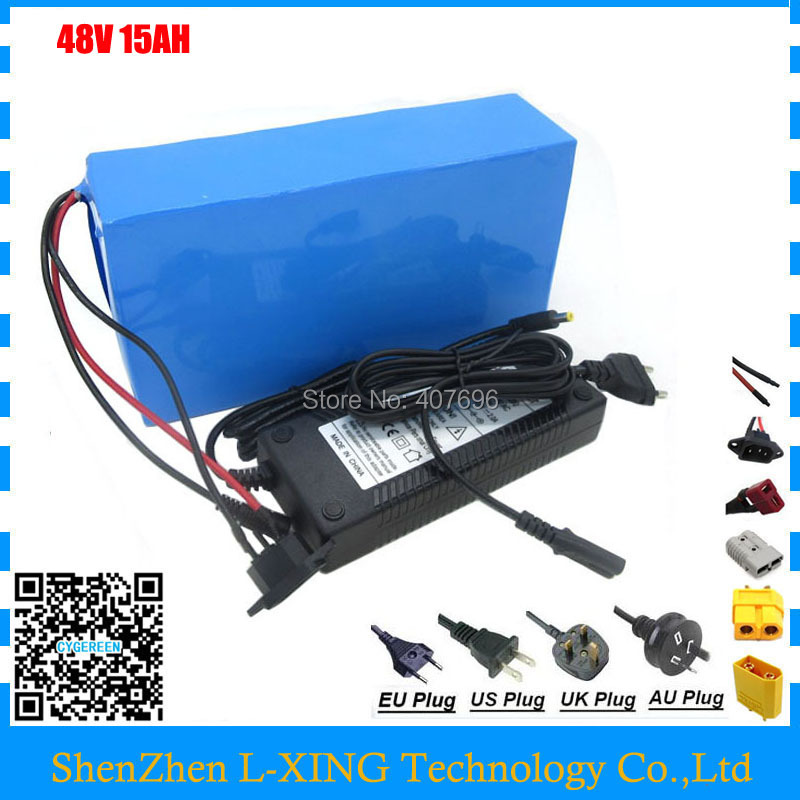 Rechargeable 500 w 48 v 15AH batterie pack 750 w 48 v 15AH ebike e scooter Lithium ion batterie 20A BMS 2A Chargeur Livraison frais de douane