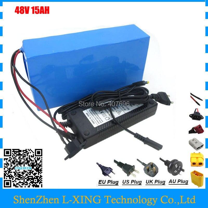 Bateria recarregável 500 w 48 v 15AH 750 w 48 v 15AH 20A ebike scooter e bateria de iões de Lítio carregador BMS 2A Frete taxa da alfândega