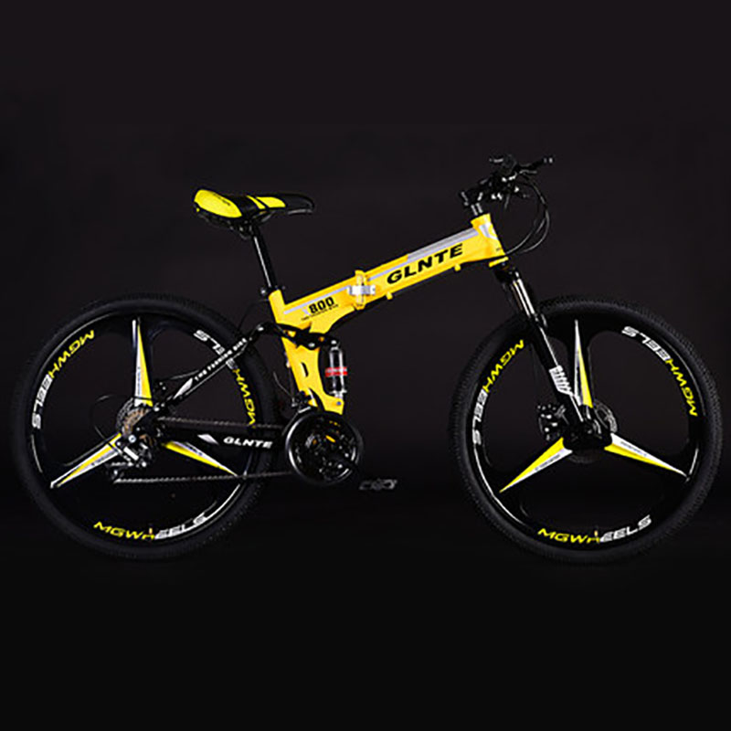 Folding Mountain Bike 24 Inches Non-slip Three-knife Wheel Double Suspension System Easy To Install