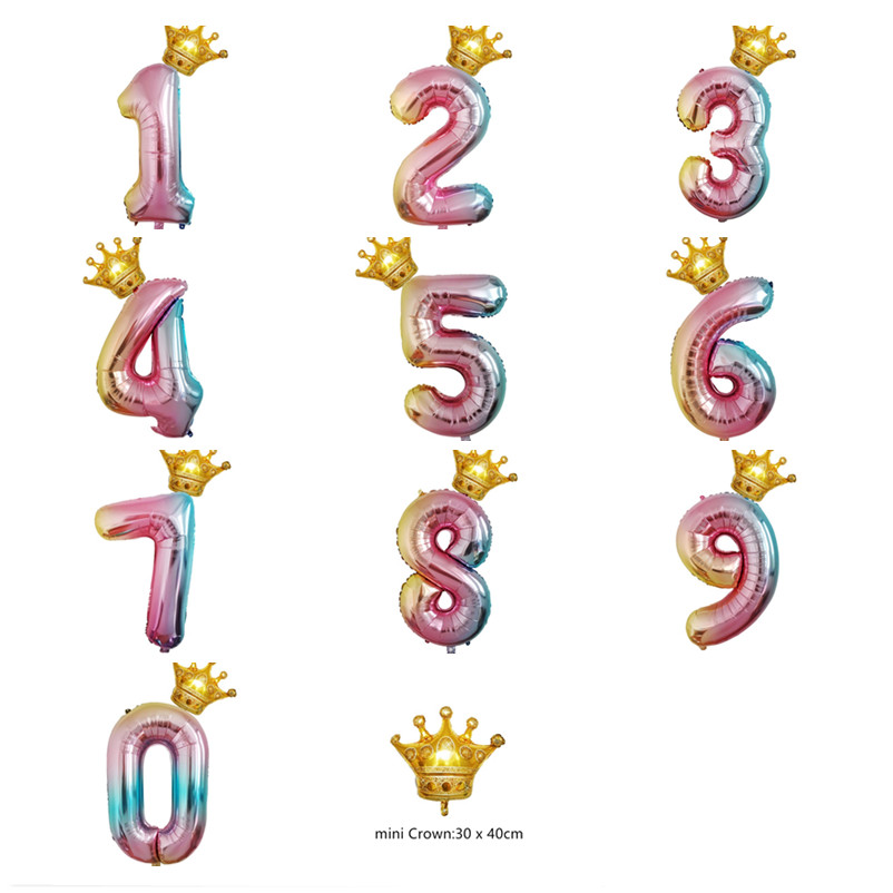 1 set Gradient Number Balloons 32inch Foil Balloon Rainbow 16inch Crown Balloon for Happy Birthday Baby
