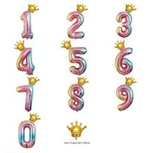 1 комплект градиент Количество воздушных шаров 32 дюймов Фольга шар Радуга 16 дюймов Crown шар для счастливый день рождения, детский душ Юбилей Вечерние