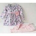 Ropa de recién nacido del algodón del niño de la niña de flores traje muchacha de los cabritos trajes de primavera chándal sistema de la ropa infantil