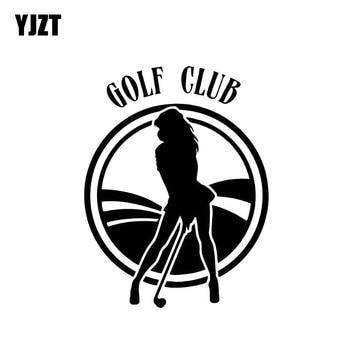 YJZT 10,5*13,7 CM presta atención a la chica Sexy Club de Golf estilo Popular de moda vinilo adhesivo negro/coche plateado C20-0791