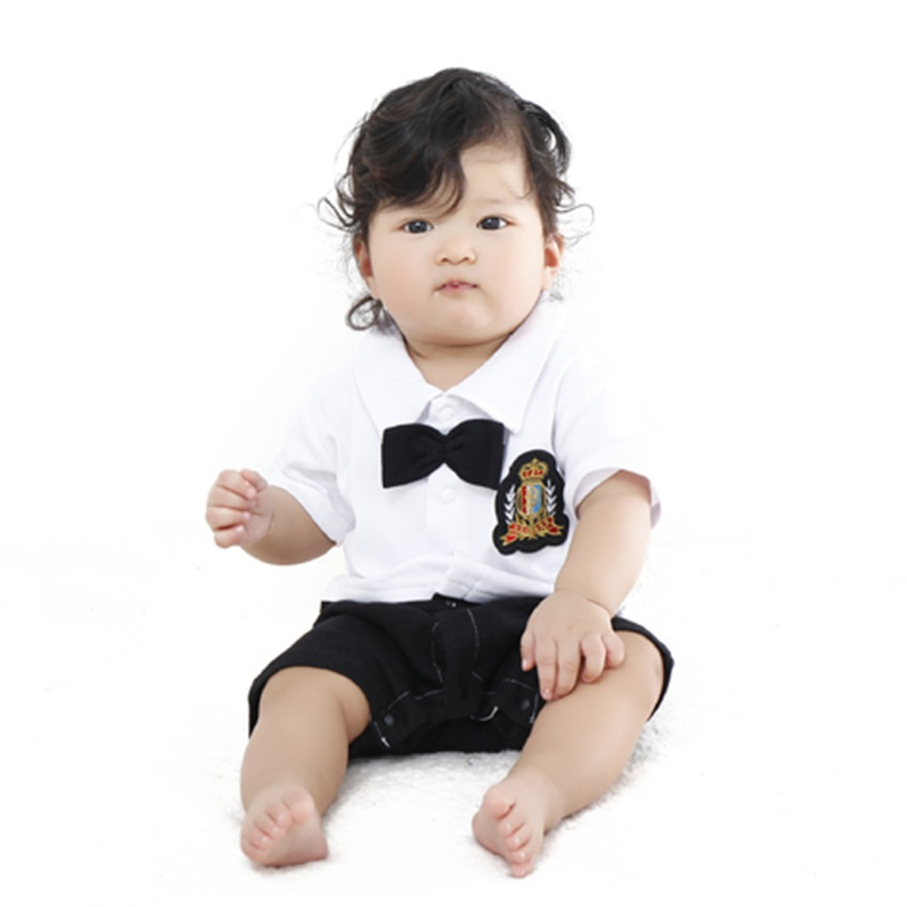 New Gentleman Short Sleeved Cotton Baby Clothes High Quality Newborn Baby Boy And Girl Jumpsuit Infant Clothing