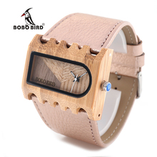 BOBO BIRD V-N21 Ladies Wide Band Watch Rectangtle Bamboo Woo