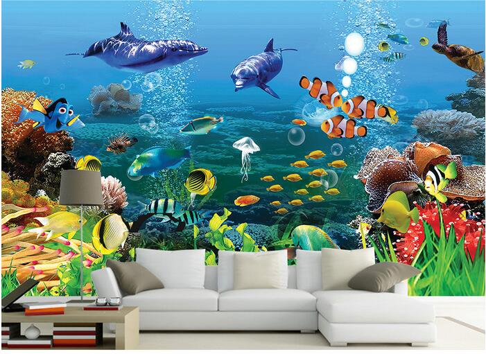 3d Room Wallpaper Custom Mural Non-woven Wall Sticker Sea World Marine Animals Photo 3d Wall Murals Wallpaper