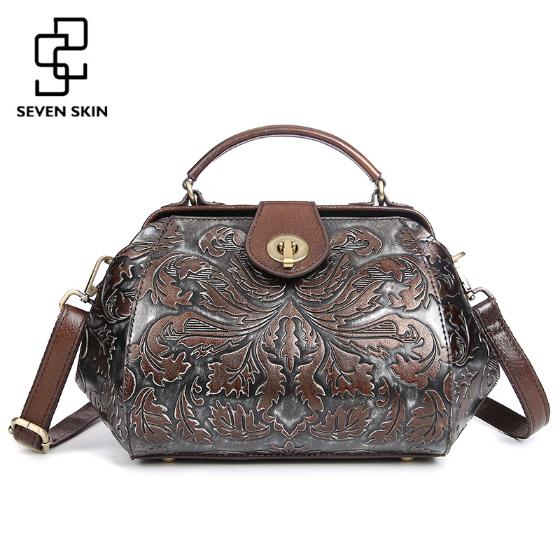 2017 Women Genuine Leather Handbag Female Luxury Handbag Famous Brand Small Vintage Messenger Bags Floral Printing Bag with Lock luxury famous brand women handbag natural genuine leather bag vintage fashion shoulder messenger bags with three layers design