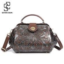 2017 frauen Aus Echtem Leder Handtasche Weiblichen Luxus Handtasche Berühmte Marke Kleine Vintage Messenger Bags Blumendruck Tasche mit Schloss
