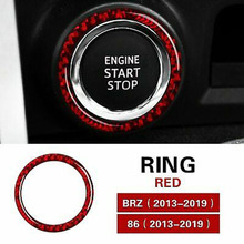Black / Red ABS Car Engine One Key Start Trim Ring Carbon Fiber Waterproof Sunscreen For Subaru BRZ/Toyota GT 86