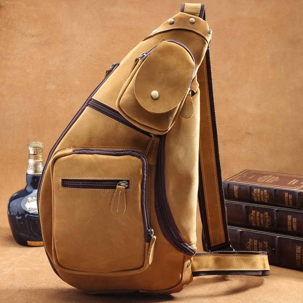 7dd2edc72ee0 TIDING Dark Brown Genuine Leather Sling Bag Cross body Shoulder Bag  Adjustable Capacity 3073