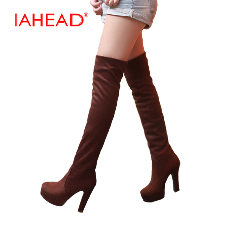 IAHEAD New Women Boots Sexy Fashion Over the Knee Boots Sexy Thin Square Heel Boot Platform Woman Shoes Black size 34-43 UPA354 new women suede sexy fashion over the knee boots sexy high heel boots platform woman shoes black blue size 34 43