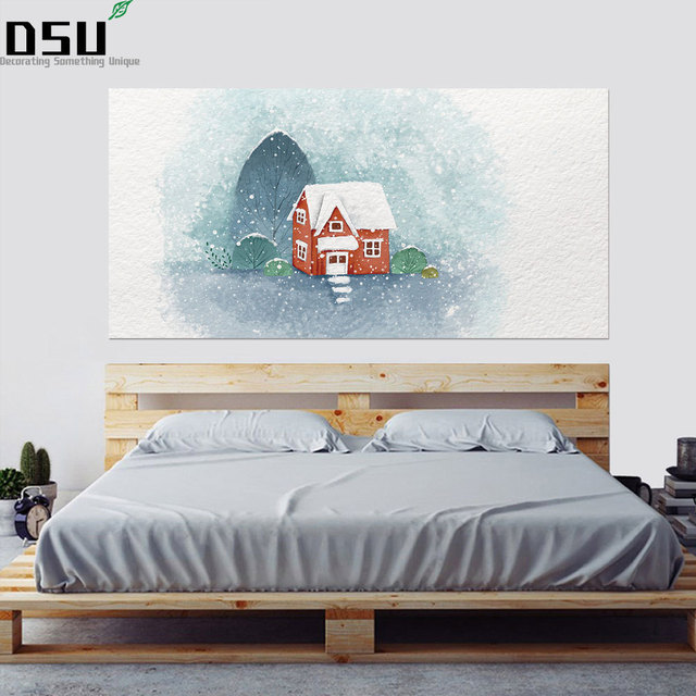 Creative Christmas Snow Hut Bed Headboard Wall Decor Wall Sticker