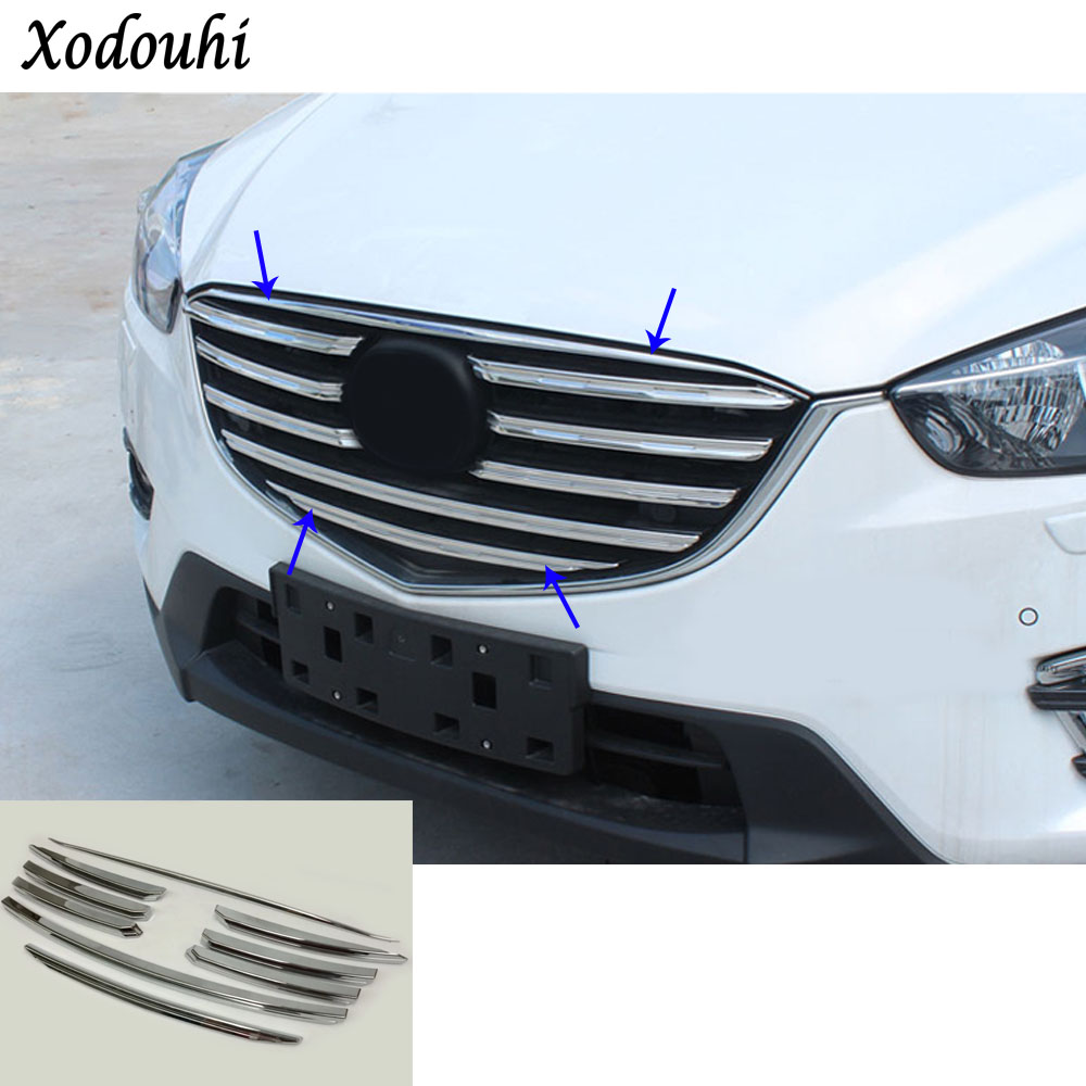 For Mazda CX-5 CX5 2015 2016 car body cover ABS chrome racing engine trim Front up Grid Grill Grille hoods part 9pcs for toyota corolla altis 2014 2015 2016 car body styling cover detector abs chrome trim front up grid grill grille hoods 1pcs