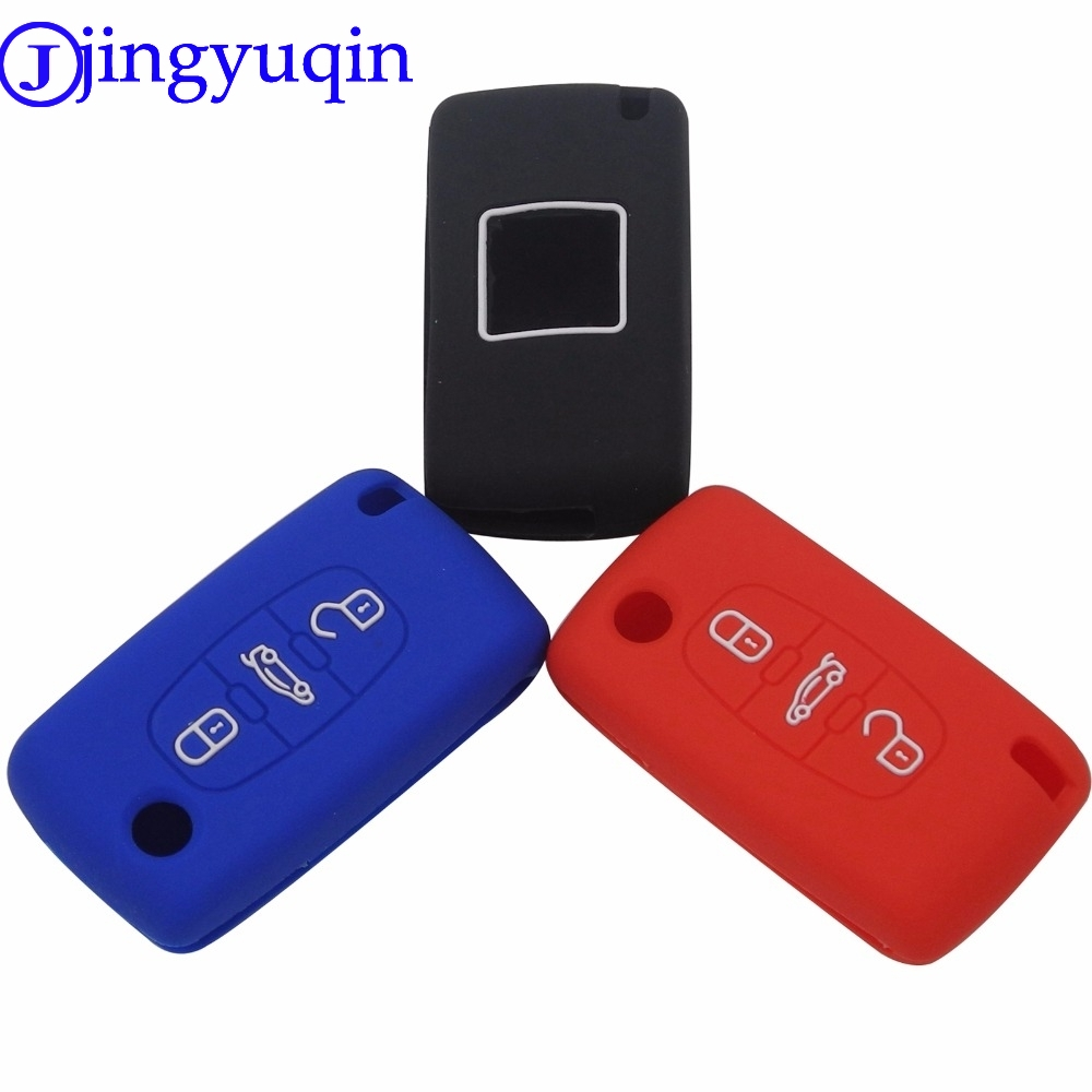 jingyuqin Silicone Remote Key Cover Case For Peugeot 107 207 307 407 308 607 For Citroen C1 C2 C3 C4 C5 C6 C8 3 Buttons genuine leather key cover for citroen c2 c3 c4 c5 c6 xsara quatre picasso peugeot 206 307 308 407 408 rcz key chain case keybag