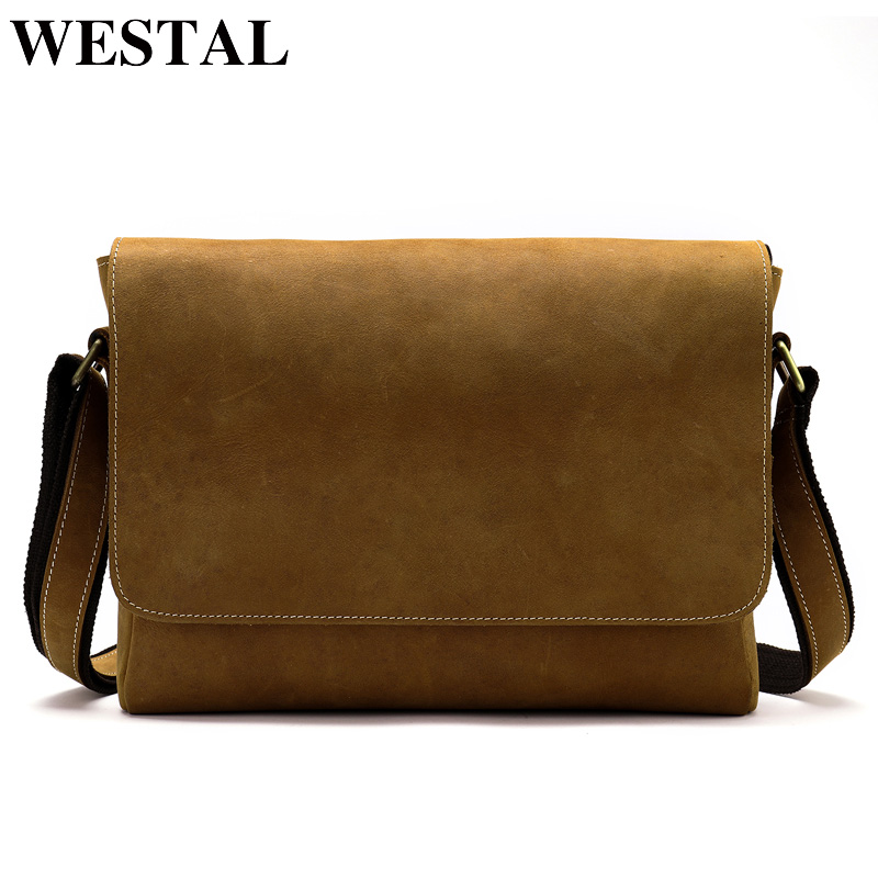 WESTAL messenger bag men genuine leather handbag men's shoulder bag Casual Male male briefcases man crossbody bags for man 1061 meigardass new style male genuine leather handbag man bag crossbody shoulder bag small casual messenger bags for men cowhide