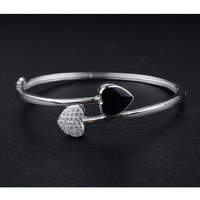 Solid Real 925 Sterling Silver Bangles For Women And Girls 2014 Cubic Zriconia And Enamel Heart