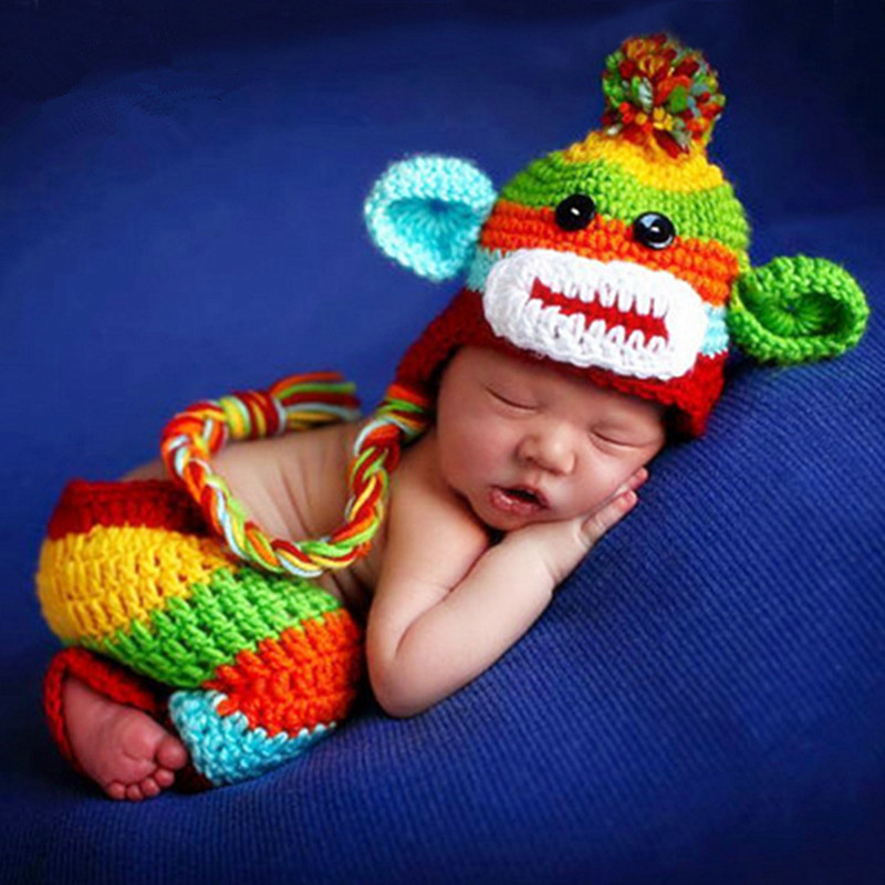 Newborn Photography Props Baby Shooting Costume Handmade Knitted Baby Hats Monkey Hat+Pants Set Baby Photo Props Accessories