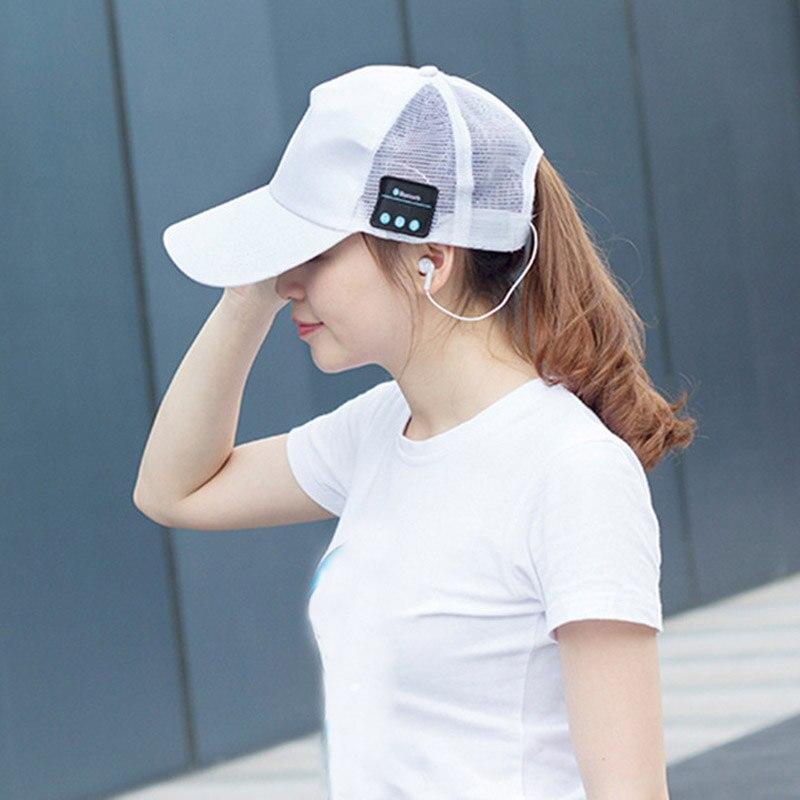 Unisex Bluetooth Baseball Cap Music Headset Headphone Earphones Trendy Hiphop Mesh Hat -MX8