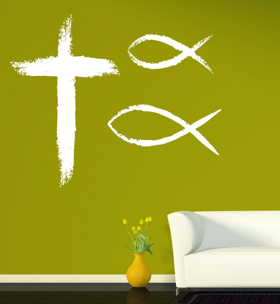 Large Abstract Art Wall Stickers Vinyl Decal Christian Symbols Faith
