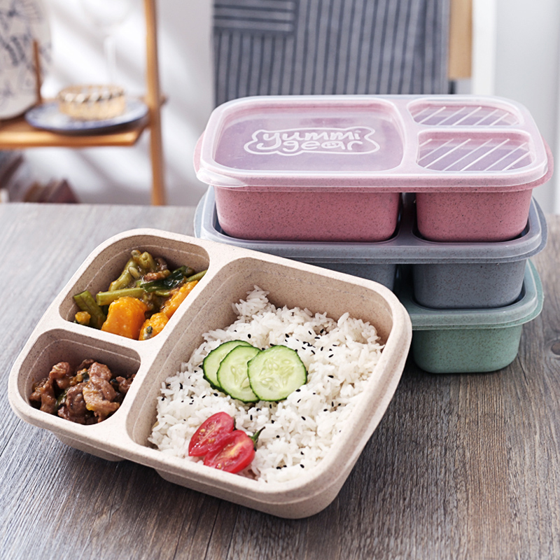4Pcs/Pack Plastic Lunch Boxes 3 Compartment Bento Lunchbox Wheat Straw Food Containers Storage Box Lunch Box for Kids Tableware