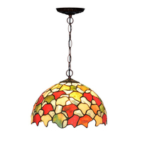 Vintage Retro Rustic Rural Kitchen Island Tiffanylamp Led E27 Hanging Pendant Lights Stained Glass Lamp Light For Dining Room