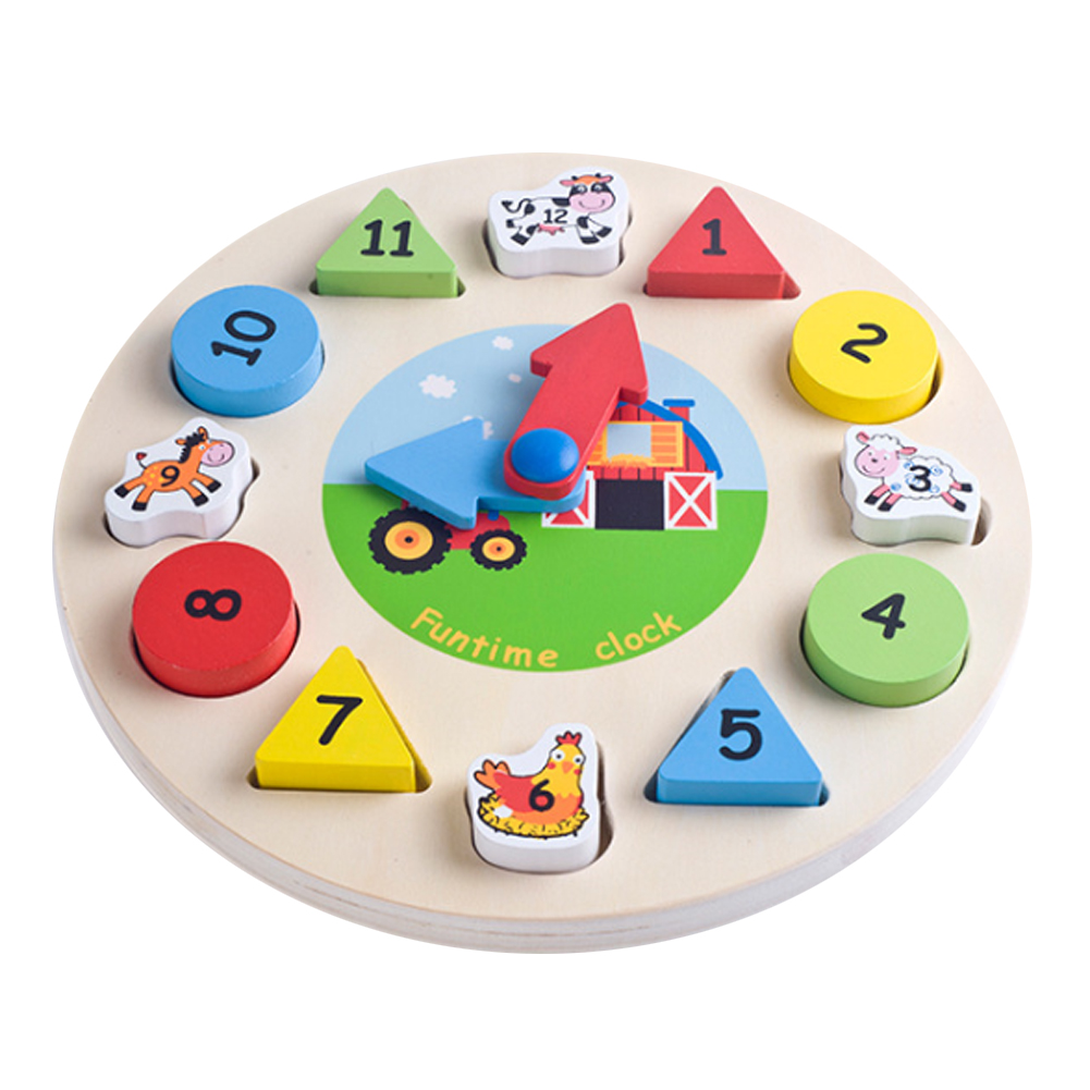 Ceative Wooden Clock Puzzle Jigsaw Toy Geometric Animal Number Shape Matching Puzzle Kids Handcraft DIY Clock Puzzle Toy