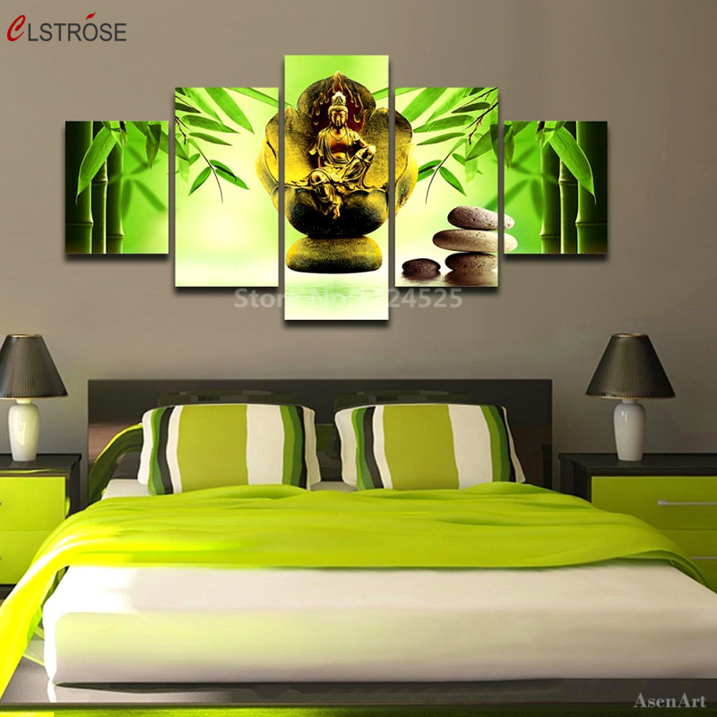 CLSTROSE 5 Panels Canvas Prints Buddha Statue Canvas Painting Wall Art Home Decor 5 Piece Stones with Flowers for Living Room