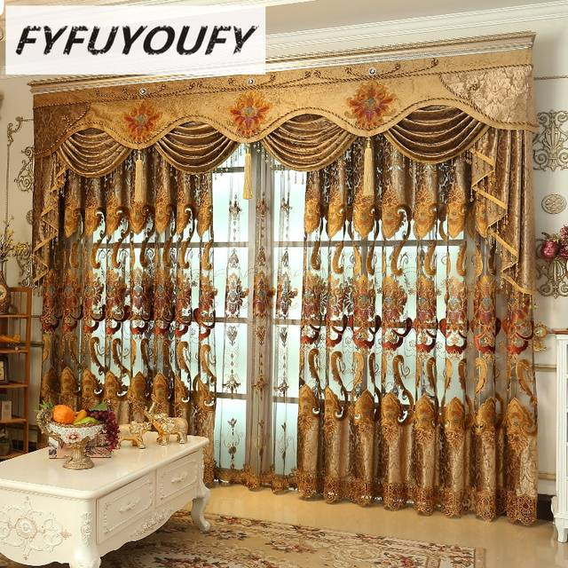 US $7.75 60% OFF|FYFUYOUFY Luxury Blackout Curtains For Living Room Flowers  embroidery curtains for bedroom windows fabric blinds tulle curtains-in ...