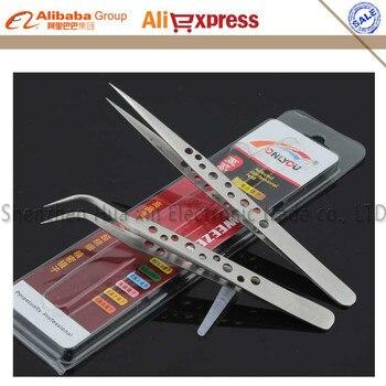 Antideslizante con holesprecision pinzas de acero inoxidable froceps para la tableta móvil del teléfono celular reparación de herramientas