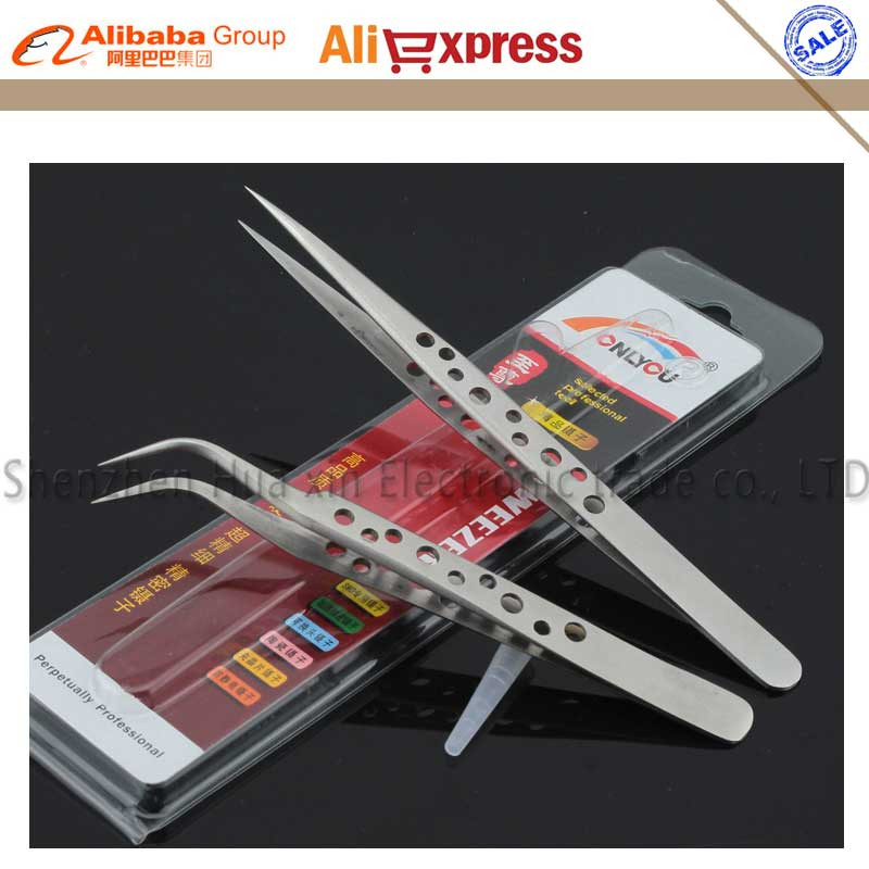 Non-slip anti-slip with holesPrecision Tweezers Stainless Steel Froceps for Mobile Cell Phone Tablet Computer Repair Tools stainless steel double head crowbar for cell phone silver