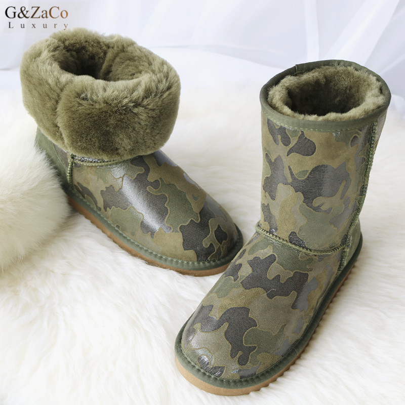 G&ZaCo Luxury Winter Sheepskin Snow Boots for Women Natural Sheep Fur Mid Calf Boots Cotton Shoes Non-skid Camouflage Wool Boots fashion hot winter hand embroidery flowers women snow mid calf boots sheep wool high qualit flats street style beauty boots 26