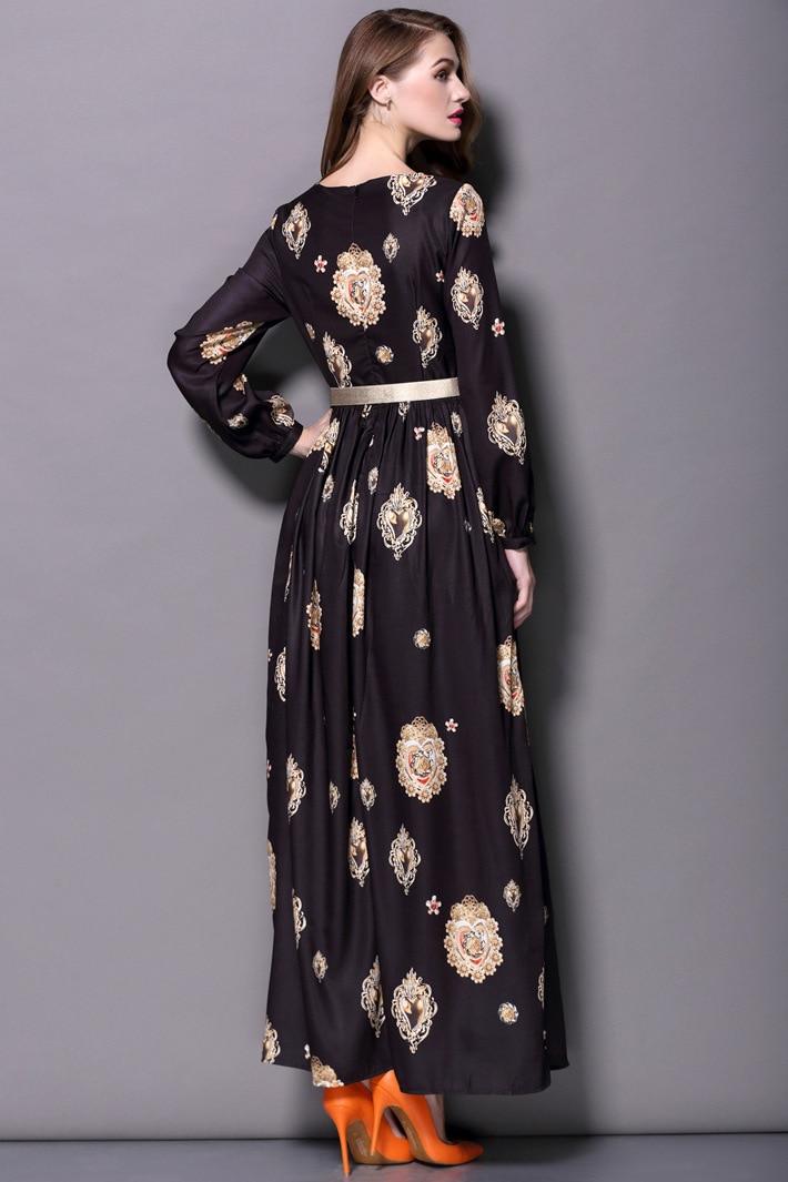 Vestito 2016 Primavera Estate vestito delle donne per la signora Nuovo Disegno di Modo delle Donne del Vestito Maxi Manica Lunga Partito Stampato vestito lungo i telai - 5