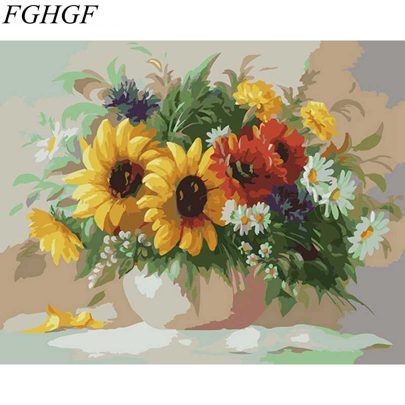 FGHGF Frameless wall picture painting by numbers hand painted canvas oil painting home decor paint by number