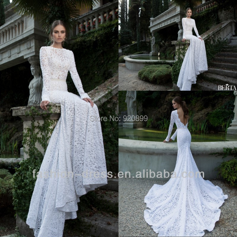 2014 New Gorgeous High Quality Lace Low Back Long Sleeve